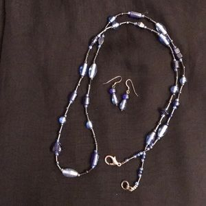 Jewelry - New Blue Glass Beaded Necklace and Earrings
